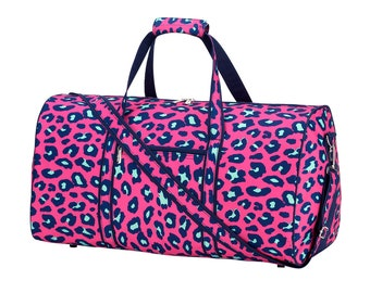 Personalized Duffel Bag | Personalized Laney Leopard Duffel Bag | Travel Carry on Bag | Gym Bag | Cheerleader Travel Bag | Dog Show Bag