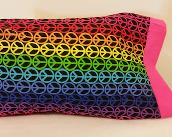 STANDARD Hippy Peace Themed Personalized Pillow Case