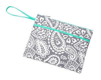 Personalized Parker Paisley Zip Pouch Bag | Cosmetic Bag | Bridesmaid | Maid of Honor | Make up Bag