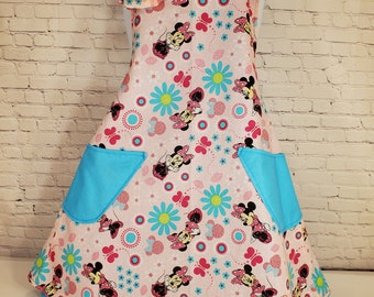 Child's Apron | Girls Apron | Size 7 - 8 | Made with Minnie Mouse Print Fabric