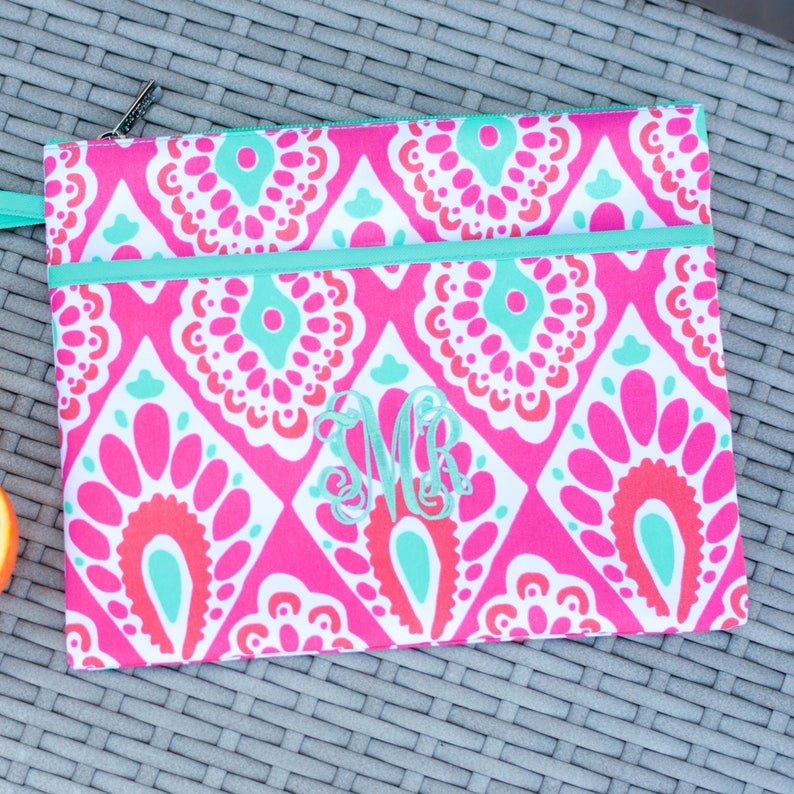 Personalized Beachy Keen Zip Pouch Bikini Bag Waterproof Accessory Bag Maid of Honor Retirement Gift Make up Bag Bridesmaid Gift