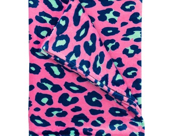 Personalized Plush Blanket   Personalized Blanket   Hot Pink Leopard   Personalized Blanket   Tween Gift