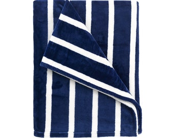 Personalized Plush Blanket   Personalized Blanket   Navy Stripe   Personalized Blanket   Tween Gift