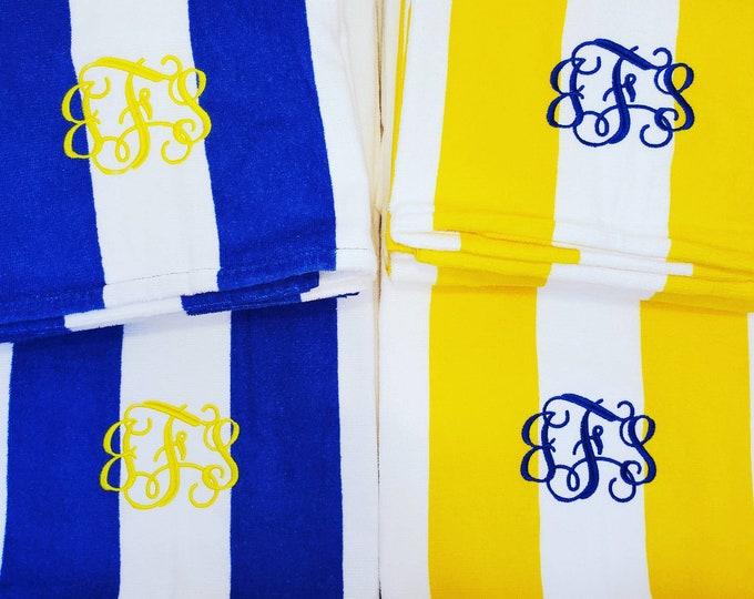 Featured listing image: Monogrammed Cabana Stripe Beach Towel