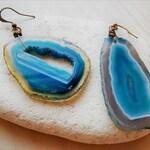 Agate Dangle Earrings, Druzy Earrings Asymmetrical Earring, Mismatched Earrings, Blue Gem Earrings, Raw Stone Crystal Slabs, Geode Earrings