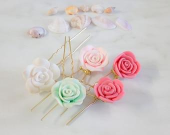 Flower Hair Pins, Bridal Hair Clip, Flower Bobby Pins, Bridal Hair Pins, Floral Wedding Pins, Tropical Wedding Hair, Romantic Hair Jewelry