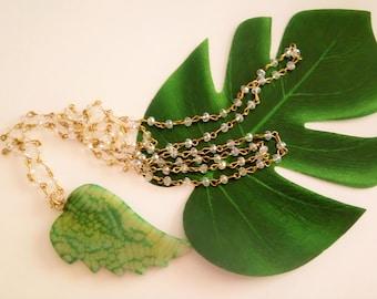 Tropical Necklace, Leaf Necklace, Green Leaf Necklace, Long Necklace, Crystal Necklace, Agate Necklace, Gemstone Necklace, Boho Necklace