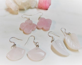 Sterling Silver Earrings, Dainty Earrings, Tiny Drop Earrings, Gem Earrings, Rose Quartz Earrings, Jade Earrings, Fan Earrings, Leaf Earring