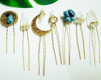 Crystal Hair Stick, Stone Hair Pin, Turquoise Hair Stick, Boho Hair Stick, Bohemian Hair Pick, Crystal Healing, Moon Hair Stick, Hair Pin