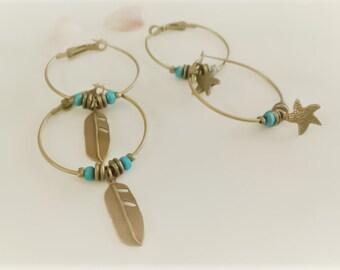 Boho Hoops, Hoop Earrings, Bronze Hoops, Trendy Hoops, Hippie Earrings, Boho Earrings, Feather Earrings, Ethnic Hoops, Southwestern Style