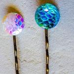 Beach Hair Pins, Mermaid Scale Bobby Pin Hair Clip, Holographic Hair Pins, Sea Hair Jewelry, Fantasy, Mythical Hair Pins, Summer Accessories
