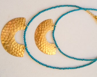 Crescent Necklace, Brass Necklace, Moon Necklace, Turquoise Necklace, Greek Goddess, Gold and Turquoise, Celestial Necklace, Greek Jewelry