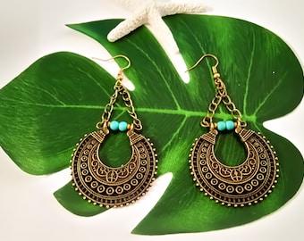 Ethnic Earrings, Tribal Earrings, Crescent Hoops, Turquoise Earrings, Statement Hoops, Mandala Earrings, Semicircle Earrings, Boho Earrings