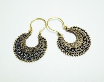 Crescent Hoops, Ethnic Hoops, Tribal Earrings, Statement Hoops, Semicircle Earrings, Bronze Hoops, Trendy Hoops, Brass Hoops, Boho Earrings