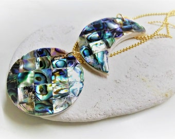 Abalone Necklace, Shell Necklace, Moon Phase, Abalone Mosaic, Mosaic Necklace, Necklace Set, Abalone, Layered Necklace, Statement Necklace