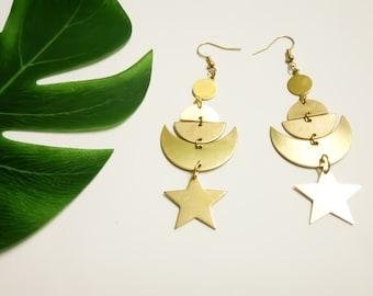 Moon Phase Earrings, Raw Brass Earrings, Celestial Earrings, Star Earrings, Moon Stars, Crescent Earrings, Moon Earrings, Statement Earrings
