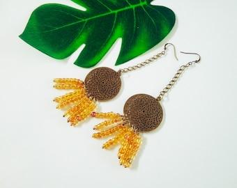 Long Earrings, Beaded Earrings, Fringe Earrings, Boho Earrings, Bohemian Earrings, Dangle Earrings, Southwestern Style, Summer Earrings