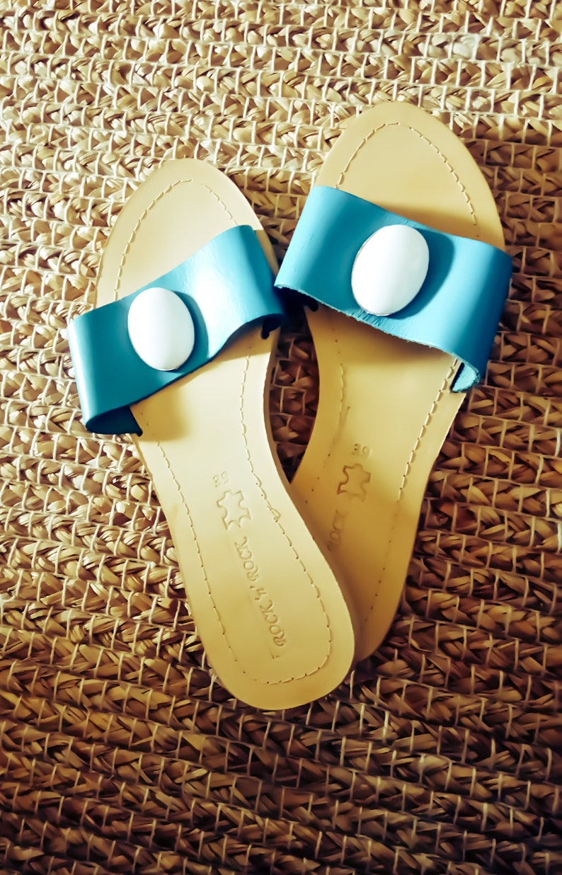 Slide Sandals Sandals Size 8 US or 39EU Turquoise Sandals Greek Leather Sandals Blue Sandals Luxury Bohemian Sandals with Stones