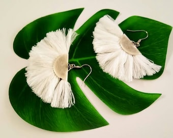 Tassel Earrings, White Earrings, Fringe Earrings, Fan Earrings, Boho Tassel Earrings, Statement Earrings, Boho Earrings, Summer Earrings