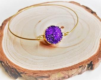 Gold Druzy, Druzy Bangle, Druzy Bracelet, Purple Druzy, Purple Bangle, Gold Dipped Druzy, Sparkly Bangle, Crystal Bangle, Purple Crystal