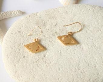 Evil Eye Earrings, 16K Gold Earrings, Minimal Earrings, Tiny Boho Earrings, Gold Earring, Gold Dangle Earring, Small Earrings, Greek Jewelry