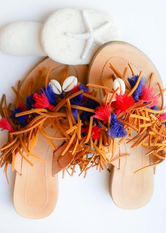 Sandals Patriotic Fringe Sandals Blue Sandals Leather Shell and Sandals Tassel Sandals Hippie Sandals Red Sandals Sandals Boho Fringe 1tdxwoAqv