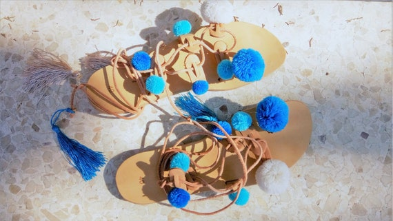 Pom Lace Bohemian Turquoise Gladiator Up Sandals Sandals Sandals Pom Boho Sandals Sandals Sandal Pompom Sandals Sandals Festival rYrS17BW