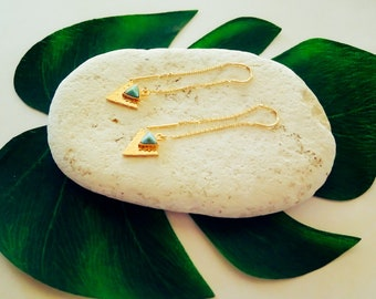 16k Gold Earrings, Gold Dangle Earrings, Boho Earrings, Turquoise Threaders, Dainty, Minimal Earrings, Gold Thread Earrings, Chain Earrings