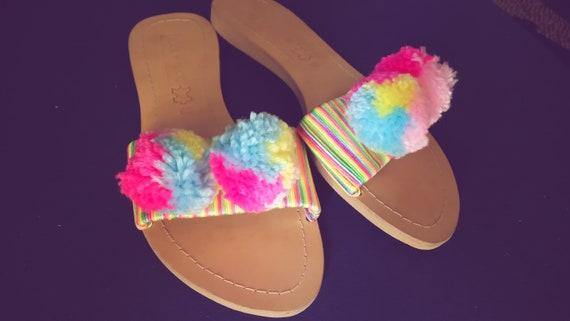 Pompom Rainbow Sandals Sandals Pom Boho Sandals Sandals Pom Pompom Sandals Hippie Sandals Bohemian Colorful Accessories Sandals xxT5wUrd