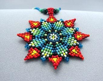 Mandala Necklace, Seed Beaded Mandala, Flower beaded Necklace, Ntive american jewelry