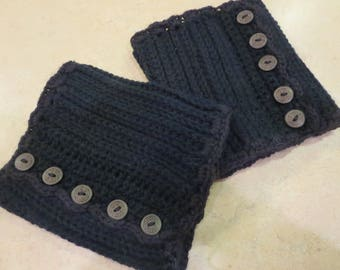 Crochet Black Boot Cuffs with Buttons, Winter Accessories,