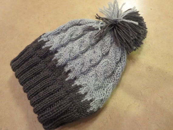 036a95ea49a Knit Gray Hat Light and Dark Gray Pom Pom Hat Slouchy Hat