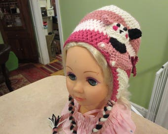 Crochet Puppy-Dog Hat, Winter Hat For Girls, Crochet Hat with Earflaps,