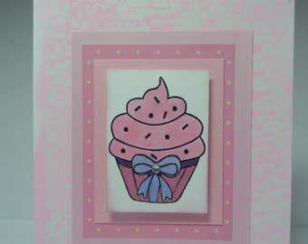 Handmade Pink Cupcake Birthday Card