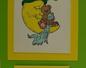 Handmade Baby Card with Moon holding Teddy Bear