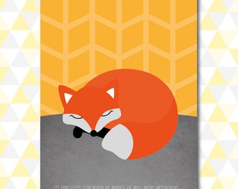 Let Him Sleep - Sleeping Fox Nursery Wall Art (Download)