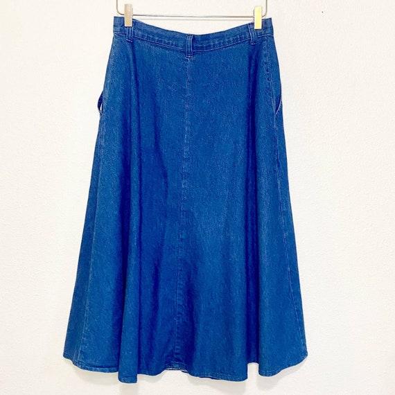 Vintage 1980's Carlyle Blue Denim Button Skirt Si… - image 2