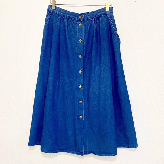 Vintage 1980's Carlyle Blue Denim Button Skirt Siz