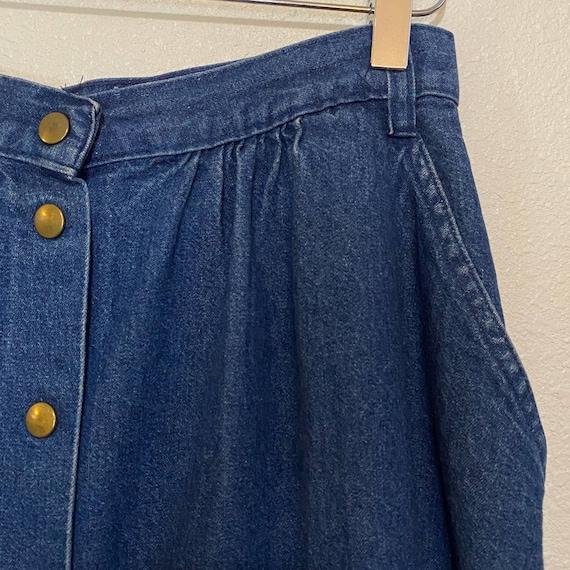 Vintage 1980's Carlyle Blue Denim Button Skirt Si… - image 3