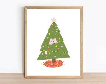 Cat Art Print - Cat in a Christmas Tree - Funny Cat Illustration