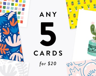 Pick Any 5 Cards for 20 Dollars