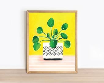 Illustrated Plant Art Print - Pilea Pink