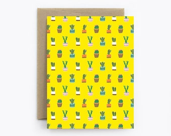 Blank Cactus Card - Birthday, Friendship, Just Because, Thank You - Tiny Cacti Yellow