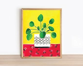 Illustrated Plant Art Print - Pilea Red