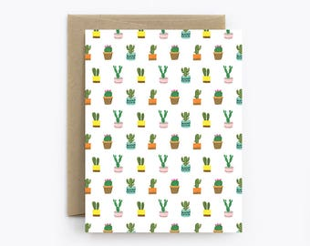 Cactus Card - Birthday, Friendship, Just Because, Thank You - Tiny Cacti White