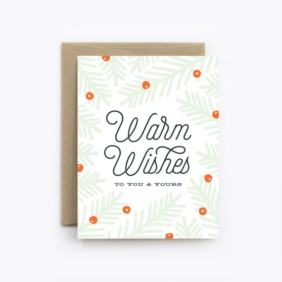 Holiday Card Christmas Card Warm Wishes In Mint Etsy