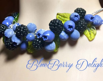 Pinup Rockabilly Retro Blueberry and Blackberry Necklace