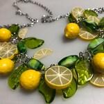 Pinup Lemon Blossom Necklace - Fruit retro Vintage inspired necklace