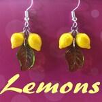 Lemon Fruit Earrings Pinup Retro Rockabilly Jewelry