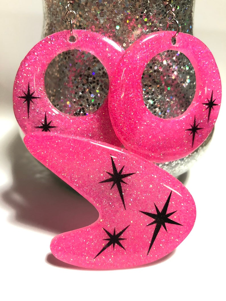 Retro starburst earring set and matching brooch  hot pink and image 0